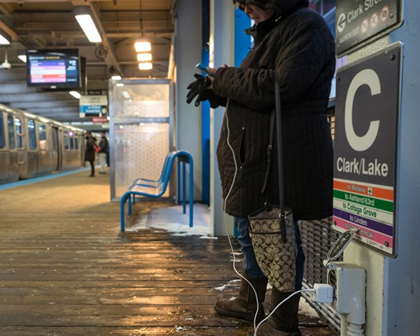 Safer sources of power on CTA property are the outlets along the platforms of el stations, the covers of which are often unfastened. - CHRIS RIHA