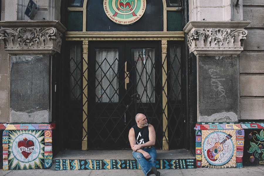 Martin Sorrondeguy outside the A.P.O. Building in Pilsen - STEPHANIE BASSOS