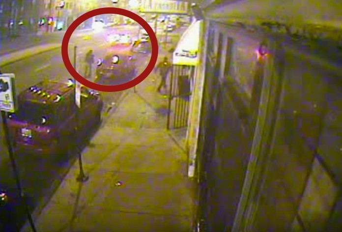 Off-duty Chicago police officer Francisco Perez is seen here on surveillance video shooting at a car in the early morning hours of November 5, 2011. - INDEPENDENT POLICE REVIEW AUTHORITY