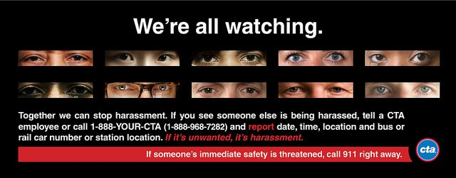 One of the CTA's new anti-harassment ads. - CHICAGO TRANSIT AUTHORITY