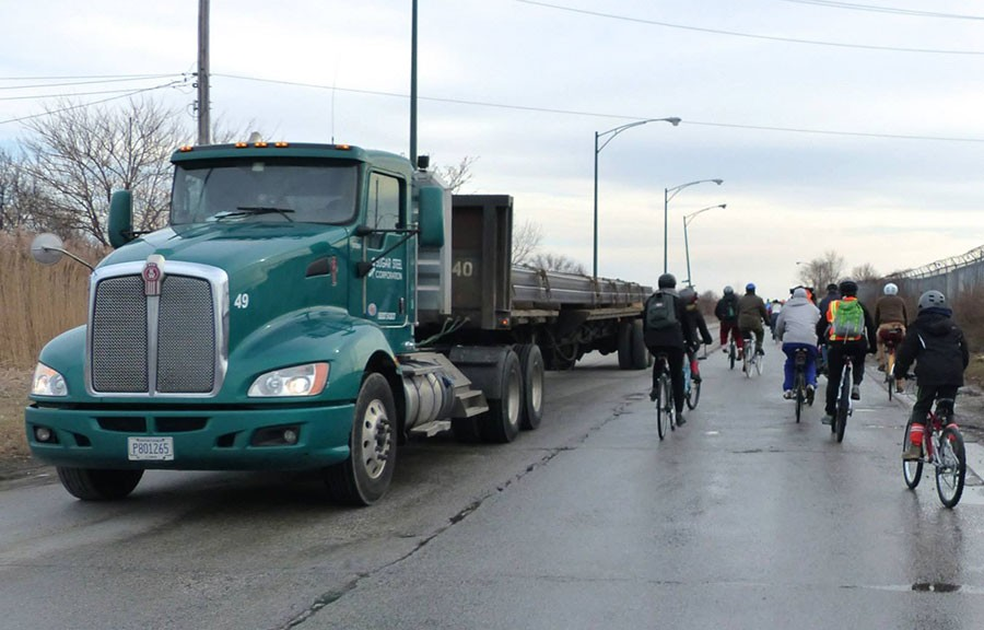 A Slow Roll winter ride to Big Marsh. Heavy truck traffic makes biking into the park a risky proposition. - JOHN GREENFIELD