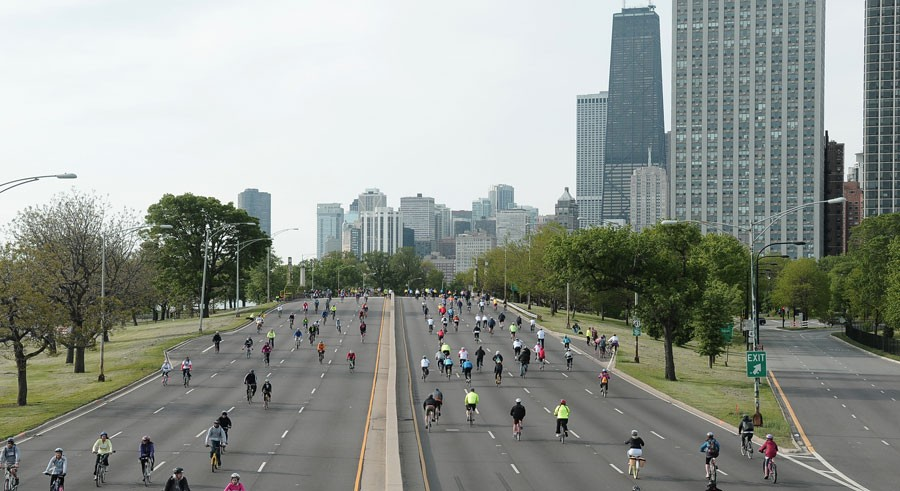 Cars get the boot for Bike the Drive on Lake Shore Drive. - SUN-TIMES MEDIA