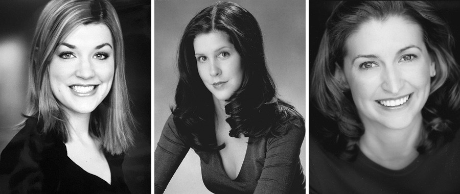 Headshots of Kim, Somer Benson, and Sara—which they shared with the Reader and which the paper has published with their permission—show the trio of actresses when each woman first met Darrell Cox. - COURTESY OF THE ACTORS