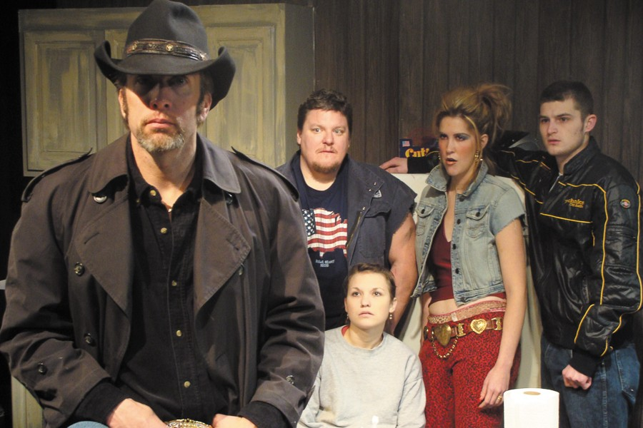A still from Profiles Theatre's 2010 production of Killer Joe, starring left to right:  Darrell W. Cox, Howie Johnson, Claire Wellin (seated), Somer Benson and Kevin Bigley. - SUN-TIMES MEDIA