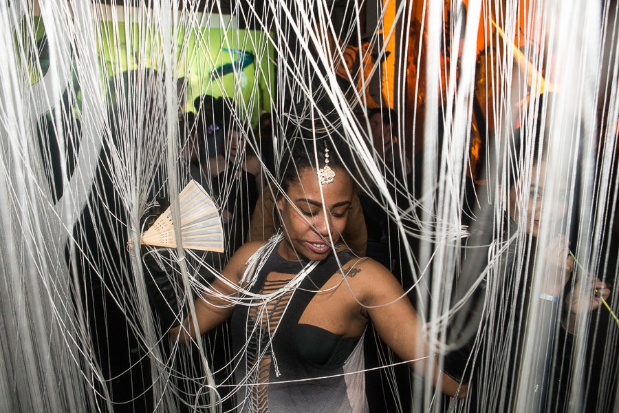 Singer and rapper Jenae Williams walks through an art installation at VAM's Fantasty party in March 2016. - KATRINA JAYNE TARZIAN/DO312