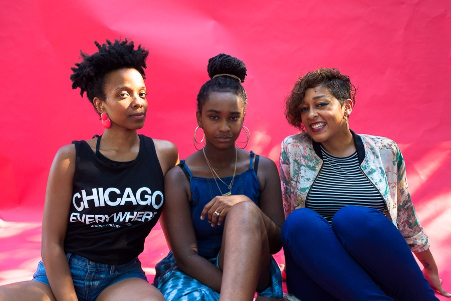 (From left) Jamila Woods, E'mon Loren, and Eve Ewing - ORIANA KOREN