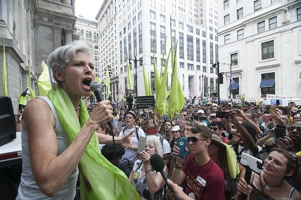 Green Party presidential candidate Jill Stein addresses the crowd during a rally at City Hall.