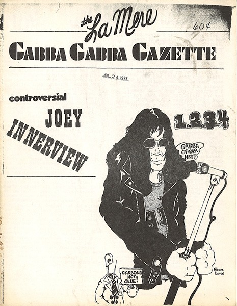 Chicago punk zine The Gabba Gabba Gazette ran an interview with Joey Ramone in 1977.