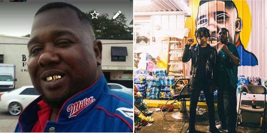 Vic Mensa posted these photos to Instagram earlier this month. To the left is Alton Sterling, killed by police on July 5 outside the Triple S Food Mart in Baton Rouge. To the right are Mensa and an unidentified man standing in front of a new mural of Sterling painted on the wall of the store. - VIA INSTAGRAM