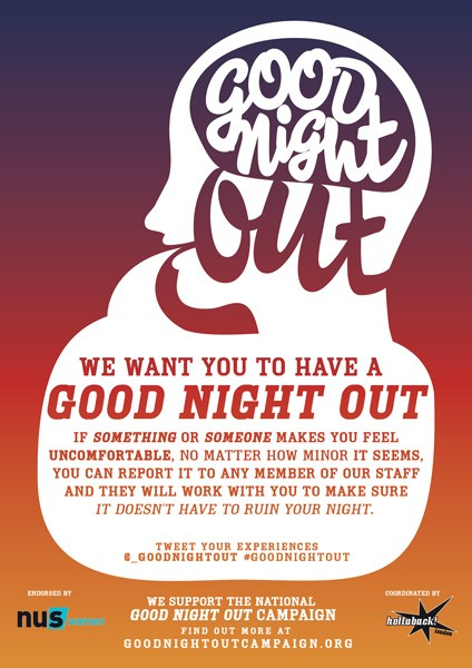 One of the flyers Good Night Out posts in participating bars and venues - COURTESY GOOD NIGHT OUT