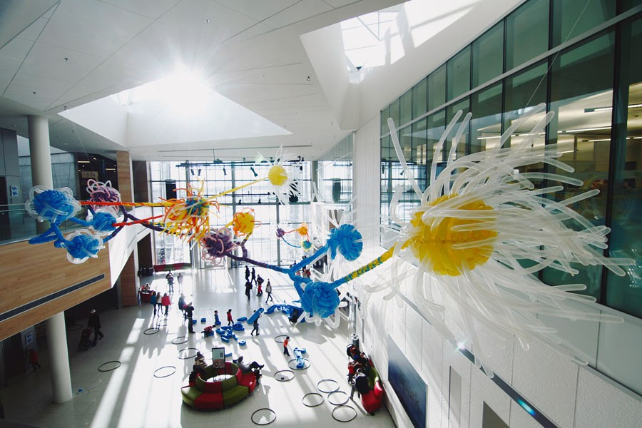 In 2012, Chyr and more than a dozen volunteers twisted together some 1,500 balloons to create his installation A Handful of Stardust inside the Calgary science museum Telus Spark. - FABY MARTIN
