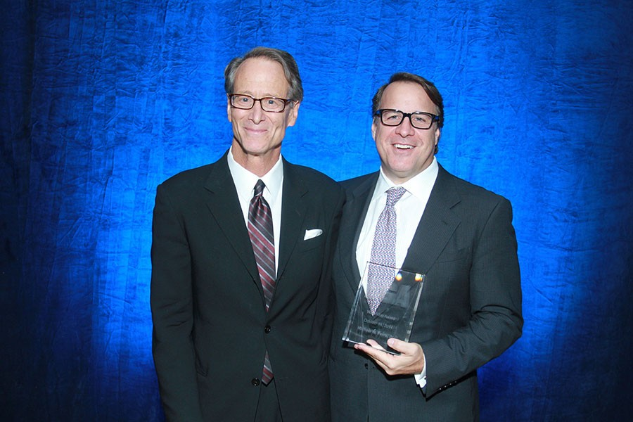 The BGA's Andy Shaw, left, with Michael Ferro, formerly of Wrapports, in 2014 - RAMZI DREESSEN/SUN-TIMES