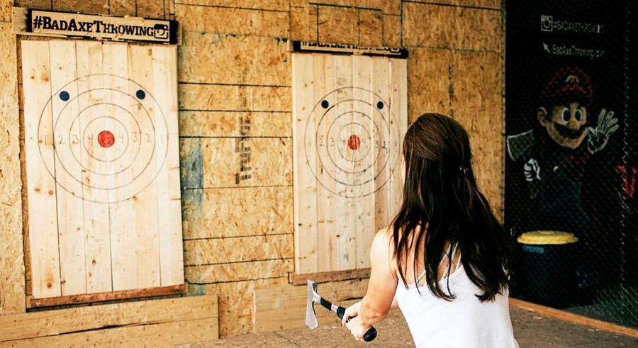 Chicago's only ax-throwing center celebrates its opening this weekend. - COURTESY BAD AXE THROWING