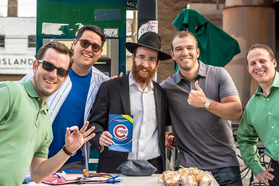 058f581df79 click to enlarge Rabbi Dovid Kotlarsky and Cubs fans in Wrigleyville -  COURTESY DOVID KOTLARSKY