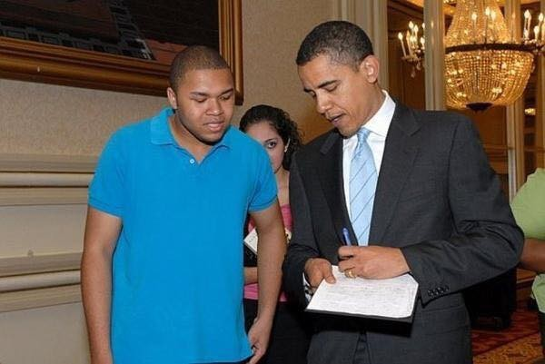 The author, left, then 17, with then-Senator Obama in 2006 - COURTESY OF DERRICK CLIFTON