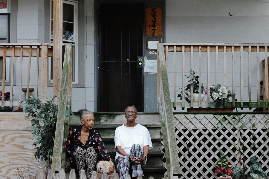 Carolyn Smith, right, her mother, Gwendolyn, and their dog sit on the porch of Smith's home in Austin. - ZAKKIYYAH NAJEEBAH
