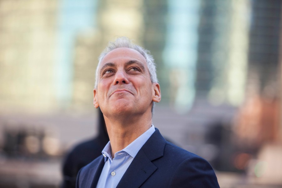 Mayor Rahm Emanuel at the March 7 ribbon-cutting ceremony for the River Point office tower, which was subsidized by $29.5 million in TIF money - SUN-TIMES MEDIA
