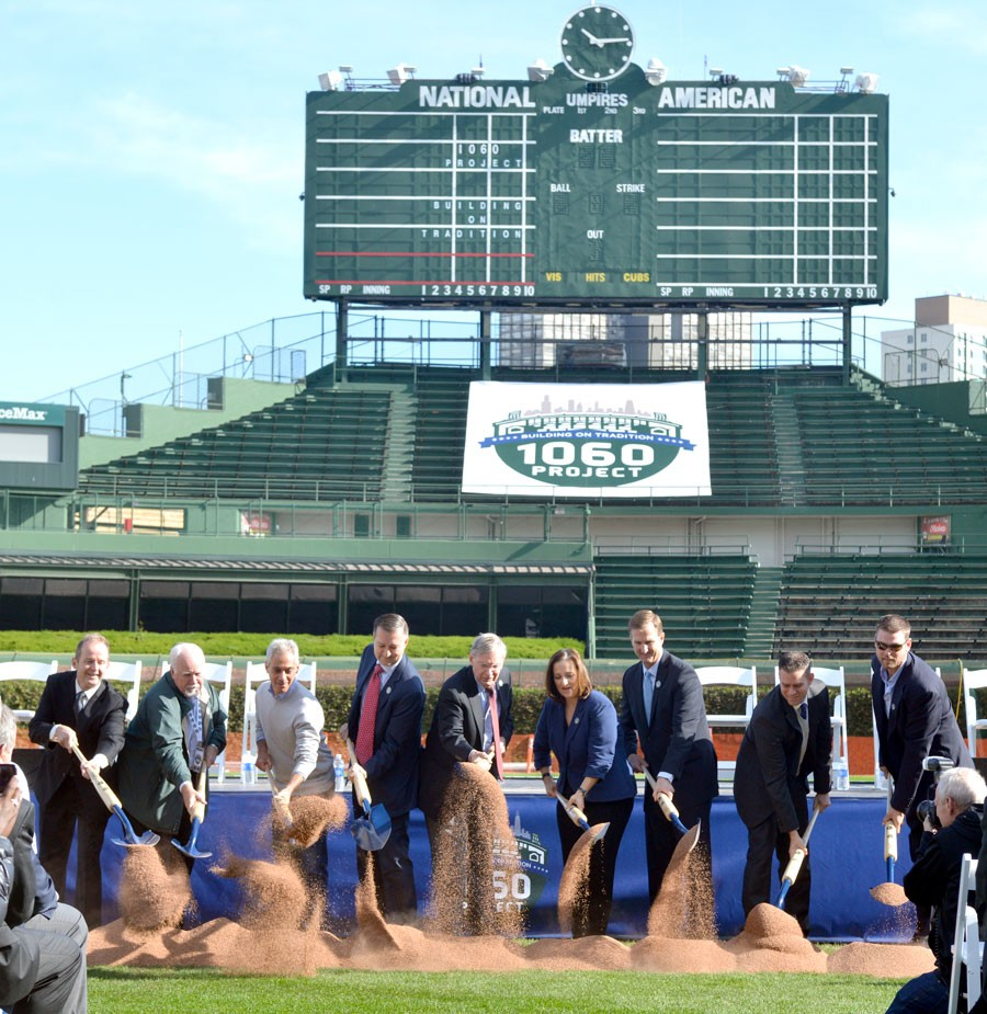 Alderman Tom Tunney, Alderman Patrick O'Connor, Mayor Rahm Emanuel, Tom Ricketts, Bud Selig, Laura Ricketts, Crane Kenney, Theo Epstein, and Kerry Wood break ground on the 1060 Project in 2014. - MICHAEL SCHMIDT/SUN-TIMES