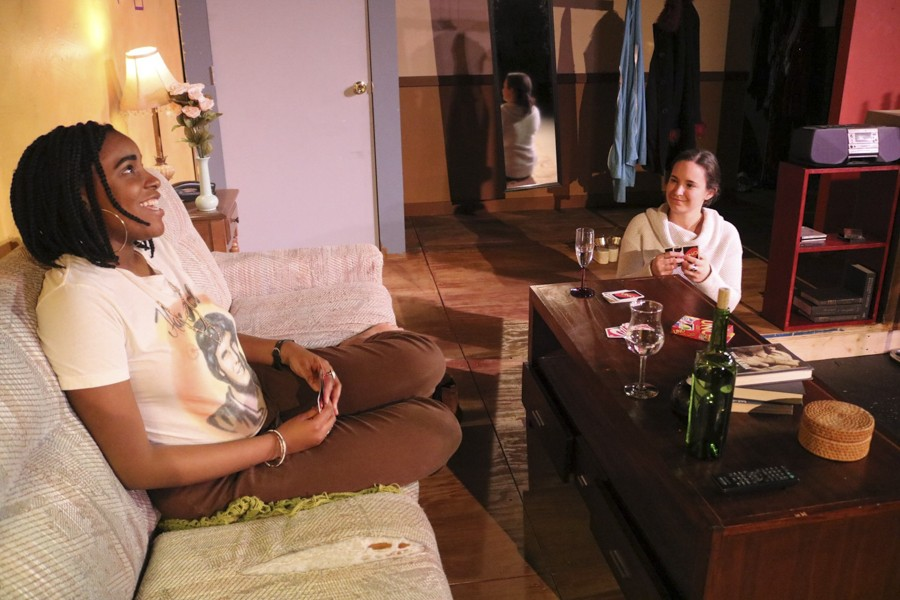 Winter Sherrod and Jackie Seijo in the Cuckoo Theater Project's Stop Kiss - SUSSIE PIRIL