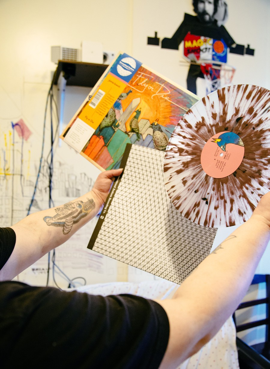 "Branch shows off the ""pigeon shit"" vinyl of her new LP, Fly or Die. - NAIMA GREEN"
