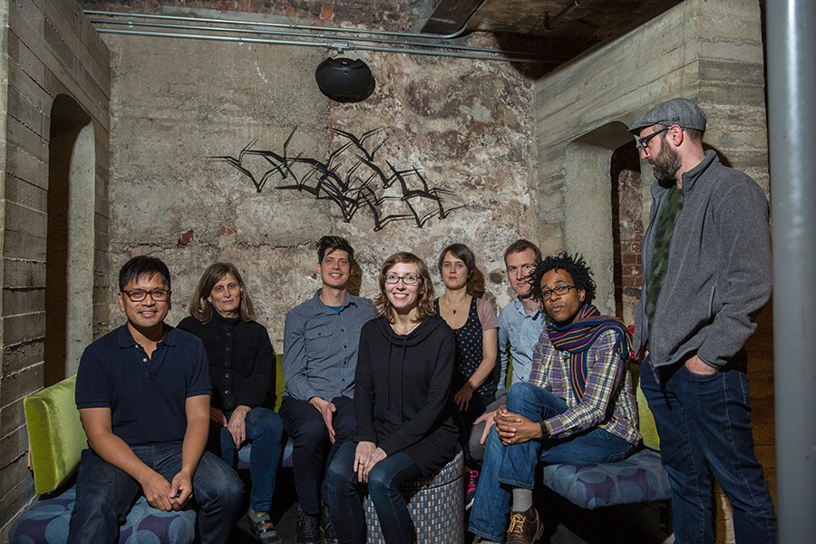 Mary Halvorson (center) and her octet: Jon Irabagon, Susan Alcorn, Ches Smith, Ingrid Laubrock, Jacob Garchik, Jonathan Finlayson, and John Hebert - KELLY JENSEN