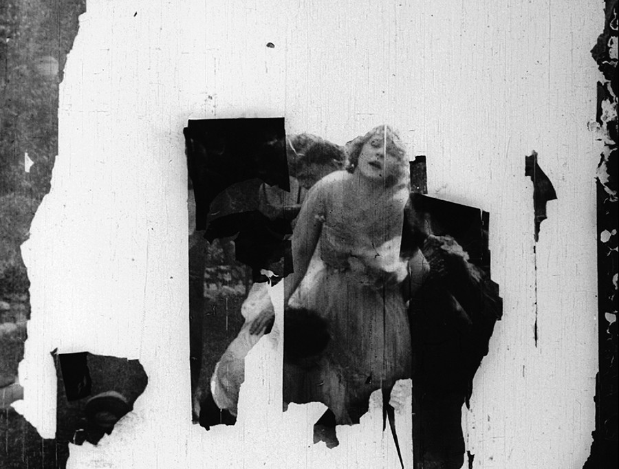 Scene from a film in the Dawson City collection, collapsing into ruin
