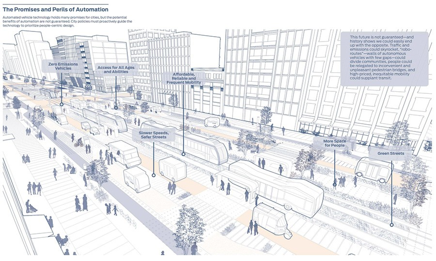 Whos steering chicagos driverless future transportation click to enlarge rendering of a city street with driverless vehicles from blueprint for autonomous urbanism malvernweather Choice Image