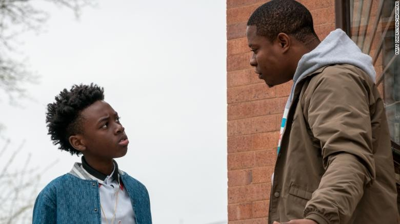 Kevin (Alex R. Hibbert) and Brandon (Jason Mitchell) in the Showtime series The Chi - SHOWTIME