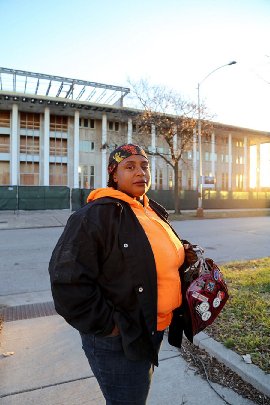 Arlena Williams, a welder and one of only about 150 female members of Chicago's Pipefitters Local 597, in front of a recent worksite - OLIVIA OBINEME