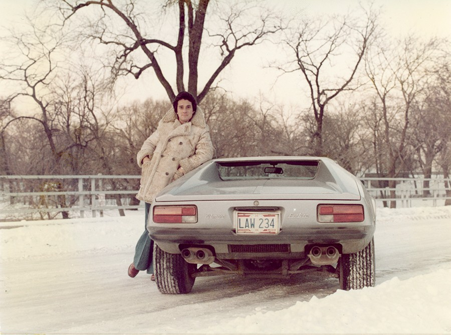 "Goldberg circa mid-70s with a 1974 De Tomaso Pantera. Illinois Appellate Court justice Aurelia Pucinski remembers meeting Goldberg at John Marshall Law School in 1973, as he was preparing to graduate. He sat next to her on her first day of class, and ""I thought, OK, he's a really hot guy,"" she says. - COURTESY STUART V. GOLDBERG"