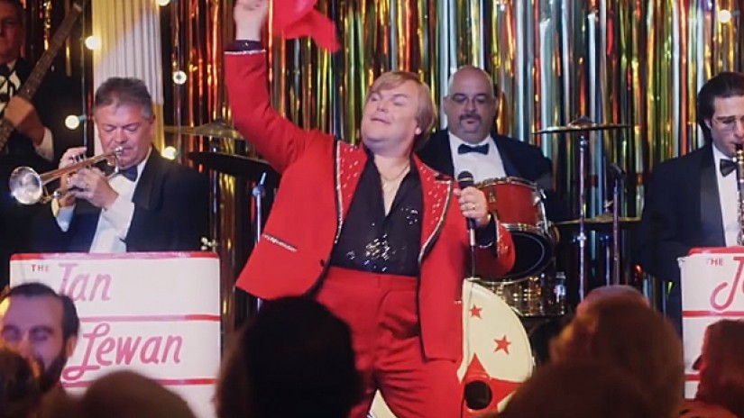 jack black is a delightful singing con man in the polka king bleader
