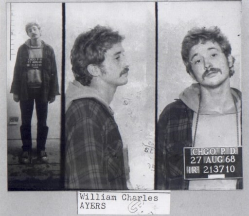 Bill Ayers's mugshot after one of his arrests at the Democratic National Convention in August, 1968 - CHICAGO HISTORICAL SOCIETY