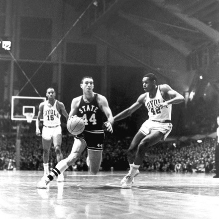 The Ramblers played all-white Mississippi State in the NCAA semifinals—but only after the Bulldogs sneaked out of Mississippi in defiance of the governor and a court order to make the game. - PHOTO COURTESY MISSISSIPPI STATE UNIVERSITY ARCHIVE, MISSISSIPPI STATE UNIVERSITY LIBRARIES