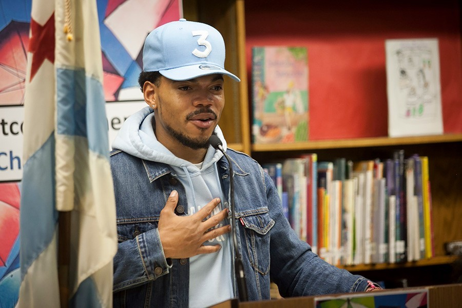 Chance the Rapper speaks with journalist Adrienne Samuels Gibbs at MCA on 3/5. - ASHLEE REZIN/SUN-TIMES