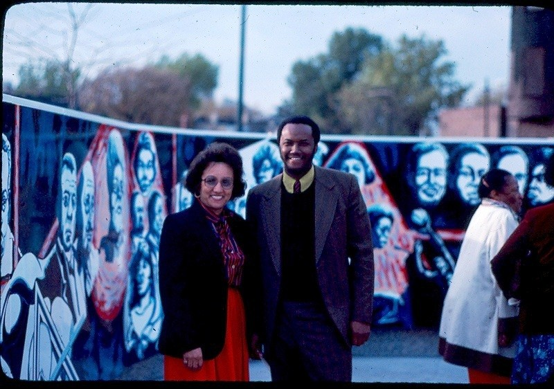 "Eda with Lenora Cartwright, the Department of Human Services commissioner, at the mural's dedication on October 28, 1982. - COURTESY EUGENE ""EDA"" WADE"