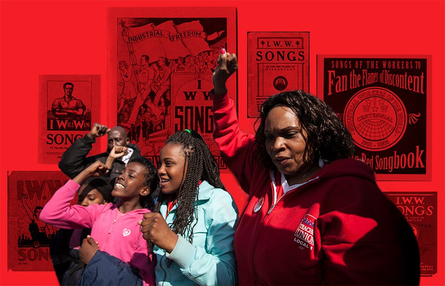 Former teacher Sherrie Parker leads a chant at a May 2013 rally against Chicago school closings, attended by parents, activists, students, labor leaders, and CTU president Karen Lewis. - PHOTO BY JESSICA KOSCIELNIAK / ILLUSTRATION BY SUE KWONG