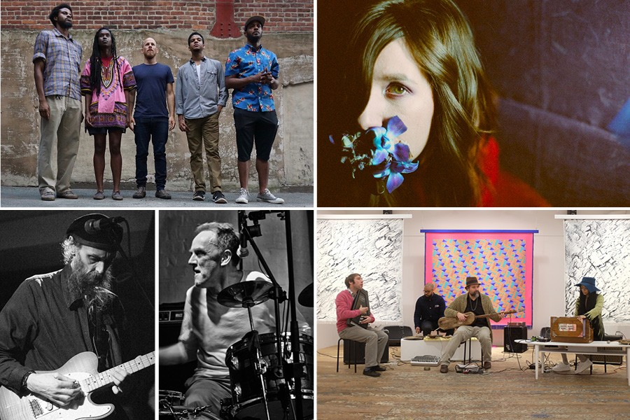 Clockwise from upper left: Irreversible Entanglements, Haley Fohr of Circuit des Yeux, Joshua Abrams & Natural Information Society, and Charles Bullen and Charles Hayward of This Is Not This Heat - PHOTOS BY KEIR NEURINGER, JULIA DRATEL, CHARLIE GROSS, AND PHILLIP WATERMAN AND LEWIS HAYWARD