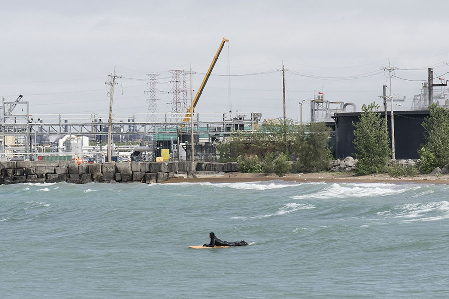 Surfers have sued U.S. Steel, which dumped toxic hexavalent chromium into a waterway that feeds Lake Michigan near the coast of northwest Indiana. - RICHARD ANDERSON