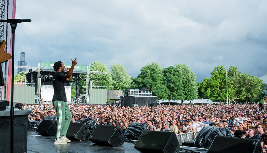 Saba performs on Pitchfork's Red Stage on Friday afternoon. - TIM NAGLE