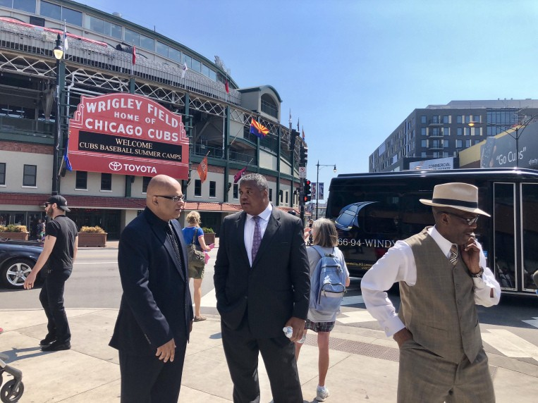 Tio Hardiman, Reverend Gregory Seal Livingston, and Eric Russell, organizers of the August 2 march intended to shut down Lake Shore Drive - SAM CHARLES/SUN-TIMES