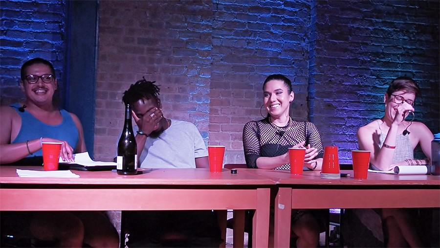 Gamboa and Hoodoisie collective members (left to right) Richard Wallace, Karari Olvera Orozco, and Ellen Mayer - HARRY FORBES