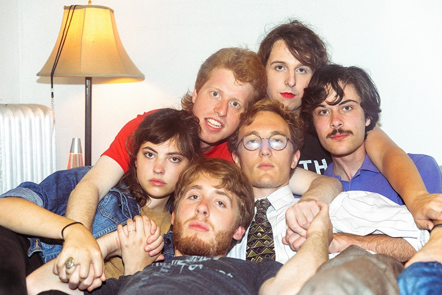 The current members of Jungle Green, clockwise from the top of the pile: Mattie McCall, Adam Miller, Adam Obermeier, Alex Heaney, Emma Collins, and Andrew Smith - KRISTIN DEITRICH