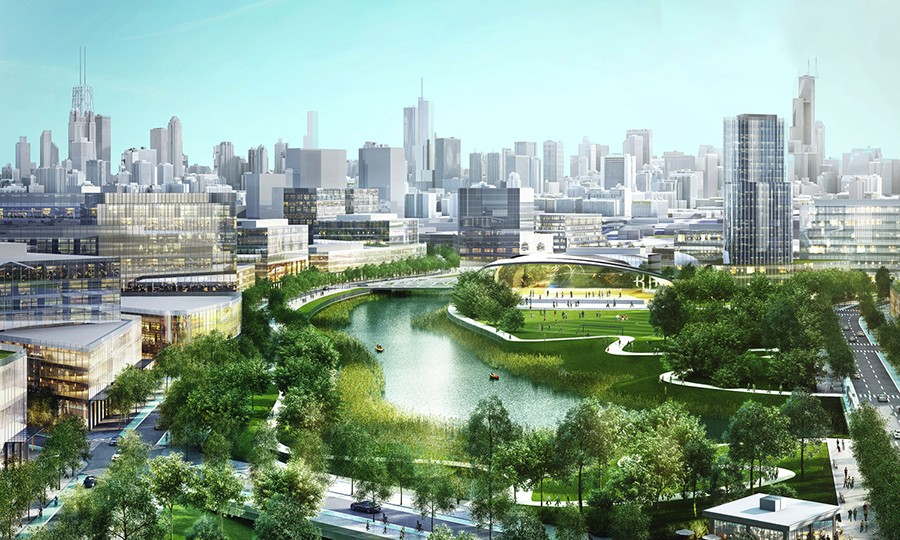 Artist's rendering of the Lincoln Yards development - COURTESY STERLING BAY