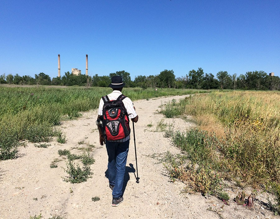 Artist and MSAE board member Norman Long helps lead a soundwalk in Big Marsh Park in July 2017. - COURTESY THE MSAE