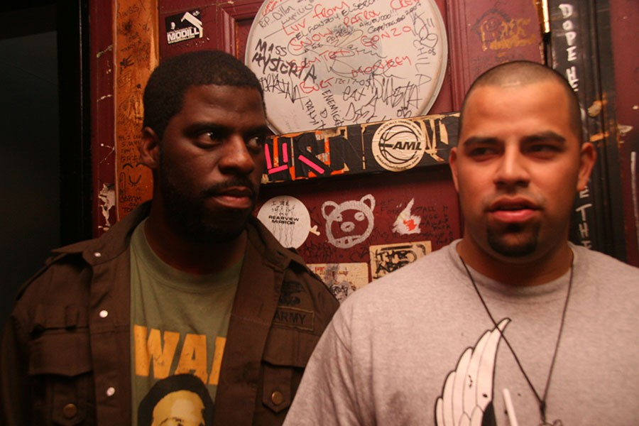 """Che """"Rhymefest"""" Smith and Andre """"Prime"""" Vasquez at Metro in 2007 for the Molemen's Chicago Rocks festival - COURTESY OF ANDRE VASQUEZ"""