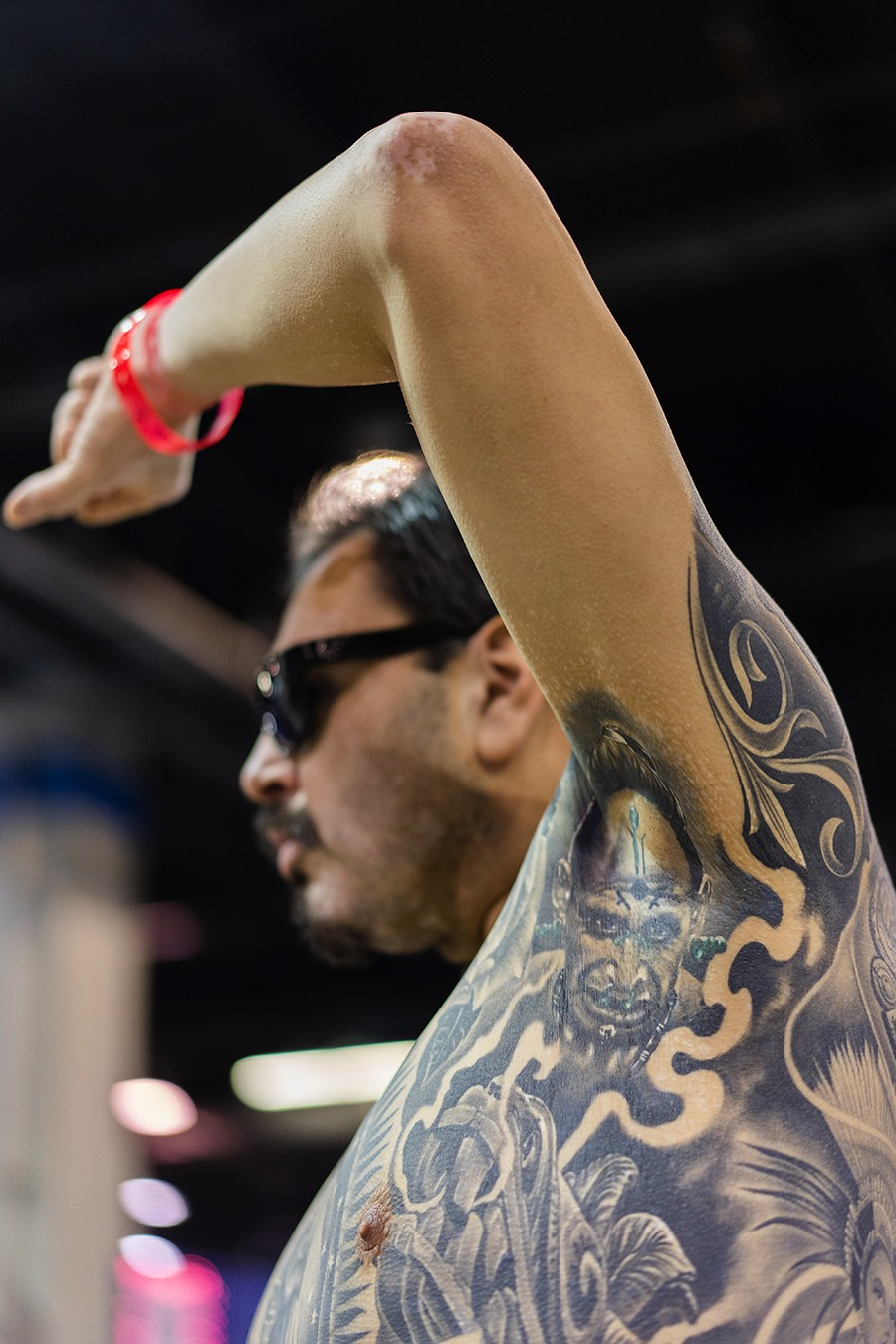 El Mexicano displays a tattoo from the movie Apocalypto in his armpit. - PAT NABONG