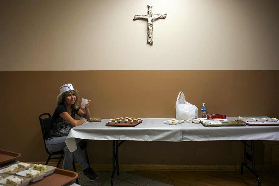 """""""I'm a dessert apprentice tonight,"""" says Patty Blum, whose childhood home is just around the corner from Saint Albert the Great Catholic Church in Burbank. - BRITTANY SOWACKE"""
