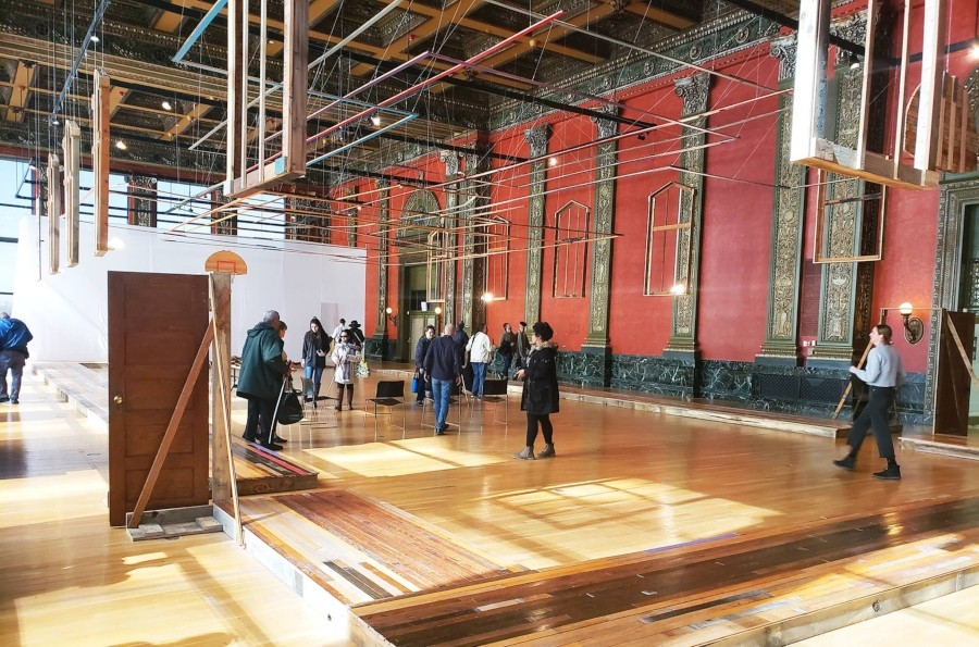 The church gym that served as Goat Island's rehearsal space has been recreated at the Chicago Cultural Center. - COURTESY CITY OF CHICAGO