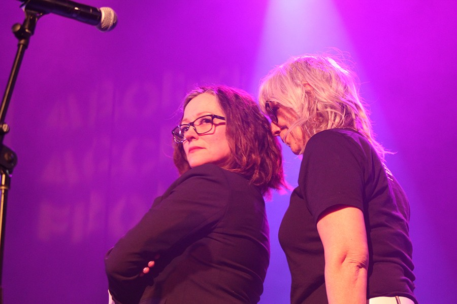 """Lizz Winstead stands too close to Nora O'Connor during her version of the Police's """"Don't Stand So Close to Me."""" - AMY SMEKAR"""