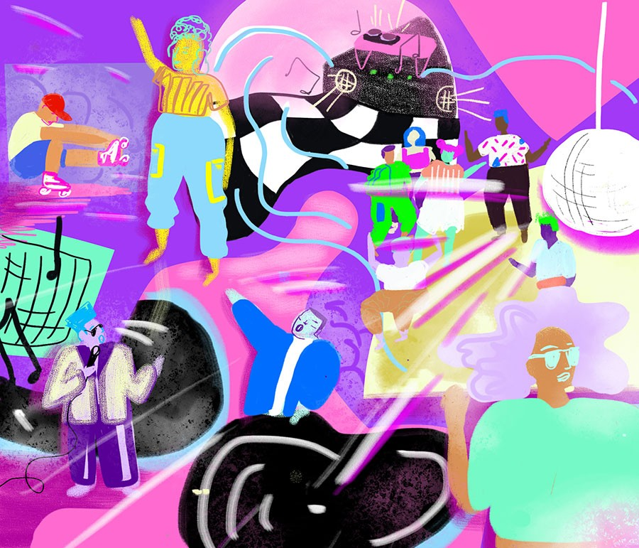 """""""It was a time when people didn't put as much emphasis on the DJs or the performer per se, and really danced and enjoyed themselves."""" —DJ and producer Chip E. - ILLUSTRATION BY TAYLOR HAMMES"""